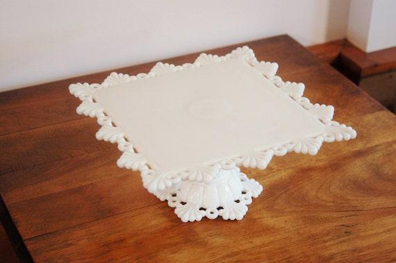 White Milk Glass Cake Stand