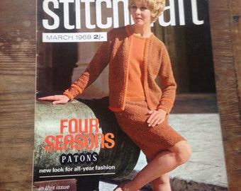Vintage Stitchcraft Magazine, Knitting and Stitching Magazine, Pattern Booklet, March 1968, Vintage Haberdashery