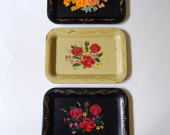 3 Metal Tole Painted Flowers Miniature Serving Trays