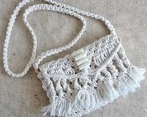 Vintage macrame ivory bag Beautiful bag Small womens bags Women accessories Old fashion Holiday gift Shabby chic Handmade Without lining