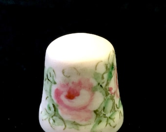 Pink Roses Porcelain Thimble, Hand Painted Bisque China Pink Rose Flower Thimble,  Collectible Thimble, Ornate Thimble, Sewing Notion