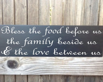 Bless the Food Before Us Sign Bless this Food Wood Sign Kitchen Decor The Family Beside Us Love Between Us Prayer Dining Room Wall Decor