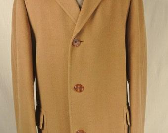 1960's Hickey Freeman Tan Wool Overcoat Men's Size: 42