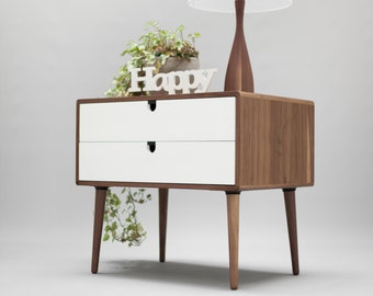 Side Table / Entry table / Dresser / commode / console Frame and legs made in Walnut and drawer in white