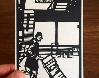 Hand Made Papercut Postcard - Paper Cut Artwork, Based on Original Fine Art Paper-cut of Chinatown, New York with Hand Crafted Envelope