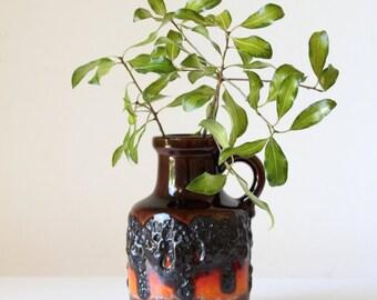 Vintage West German pottery vase/ Scheurich pottery/ mid century decor/ collectible German art pottery/ retro jug