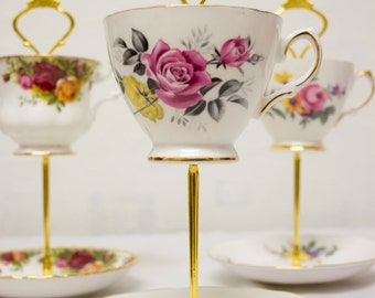 Two-tier, vintage teacup and saucer cake stand - upcycled - 2 tier