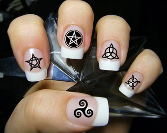 57 Black Mixed WICCAN Nail Art Symbols MEGAPACK (MXB) Magic Goth - Waterslide Transfer Decals - Not Stickers or Vinyl