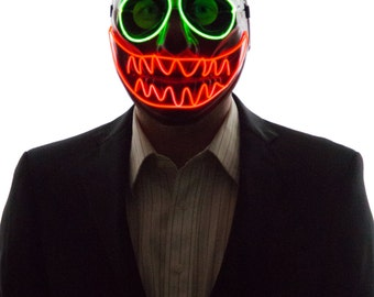 Glowing Nightmare Before Christmas Scary Face Mask, Clow, Creepy, Scary, Rave Wear, Glow in the Dark Masquerade, Light Up, LED