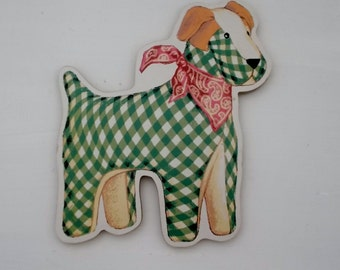 Flat Dog Green and White Dog with Bandana Wall Hanging or Shelf Sitter Cute Nursery Decor