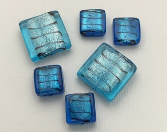6 blue mixed silver foil glass beads #PV086