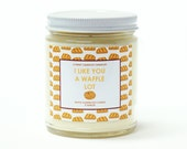 9oz. Scented Soy Candle - Waffle - Natural Candles - Strong Fragrance Throw - Hand-poured - Made In Pennsylvania - Punny Candle - Puns - Pun