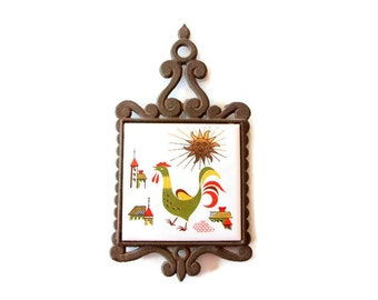 Vintage rooster trivet - tile and cast iron / fully functioning kitchen decor with sun, church, house 60s decor