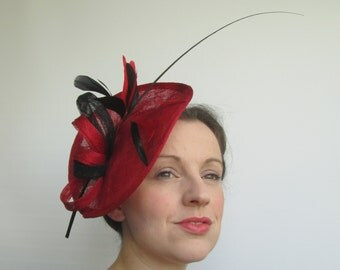 Red Black Hatinator - Red Fascinator, Saucer Hat, Red Black Fascinator, Races Hat, Womens Hats and Fascinators, Ladies Hat, Tea Party