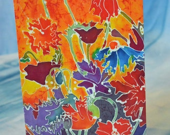 Blank Greeting Card with Original Batik Artwork Flowers Note Card
