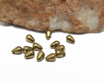 Gold Crystal Teardrop Briolettes 4x6mm 12pcs
