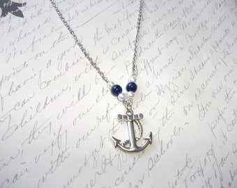 Sailor necklace with anchor, blue agates and pearls