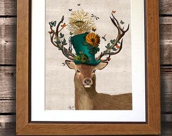 The Mad Hatter Deer  - Alice in wonderland decor, deer illustration stag painting wall decor digital print deer art print Stag Head