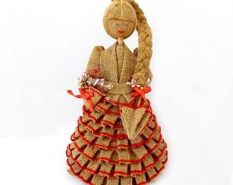 Vintage Souvenir Doll from Brazil - Rustic Burlap Doll - South American Brazilian Folk Art - Primitive Handmade Ethnic Doll