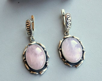 Earrings with pink quartz,  silver 925, Handcrafted Earrings