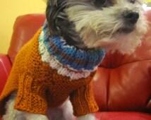 Dog sweater-READY TO SHIP/orange dog sweater/leash hole dog sweater/hand knit dog/harness hole sweater/dog clothing/pug sweater/bull dog