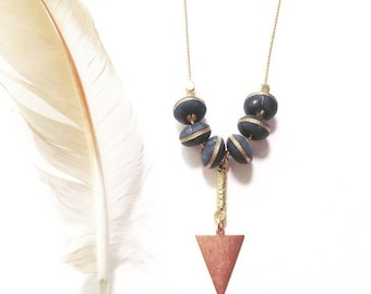 Stevie Matte Black and Gold Beaded Necklace with Copper Triangle and Vintage 1970's Matte Brass Chain