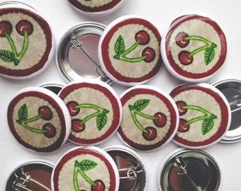 """Cherries Pinback Button (1.25"""")"""