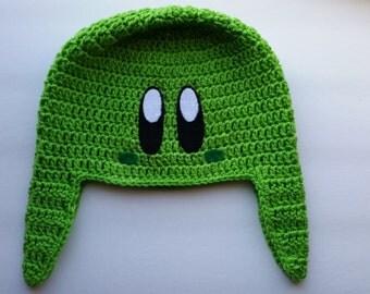 Crocheted Green Kirby Hat