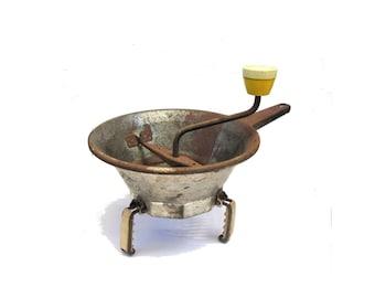 French kitchen decor. Farmhouse kitchen decor. Vintage kitchen tool. Vintage kitchenware. Rustic kitchen decor. Rusty metal. Potato masher.