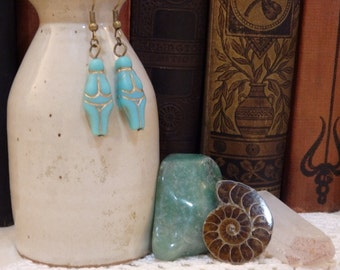 Turquoise Czech Glass Venus of Willendorf Fertility Goddess Earrings