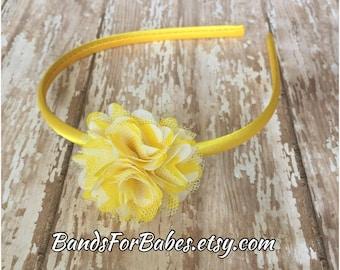 Yellow & White Satin and Tulle Flower Headband, Yellow Hair Accessory, Girls Basic Headband, Toddler Hair Bow, Satin Wrapped Hard Headband