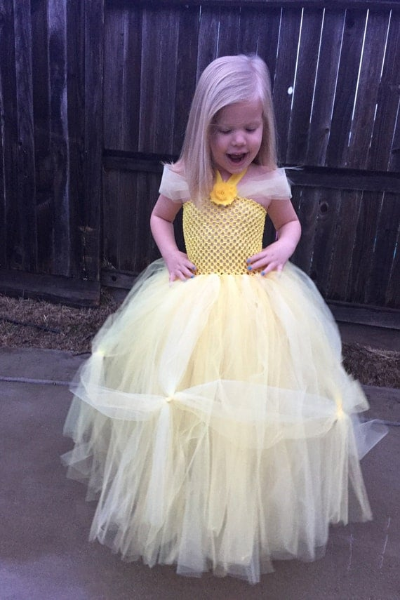 Belle Tulle Dress princess belle ball gown yellow tutu