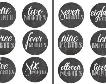 DIGITAL FILE: Monthly Baby Onesie Stickers- Chalkboard Design