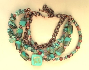 Multistrand African Turquoise, Czech Glass Beads, Artisan Crafted Beads, and Chain Bracelet