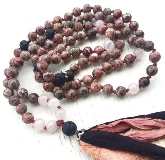 Meditation Mala Beads Leopardskin Jasper, Black Lava (Basalt) Rose Quartz, Silk Sari Tassel, Root & Heart Chakra Mala, Bohemian Mala Beads