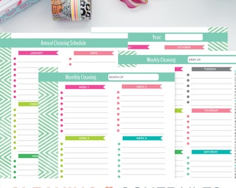 Cleaning Schedule Printable, Weekly Monthly, Yearly, Clean House Schedule Checklist, EDITABLE PDF Instant Download, 8.5x11