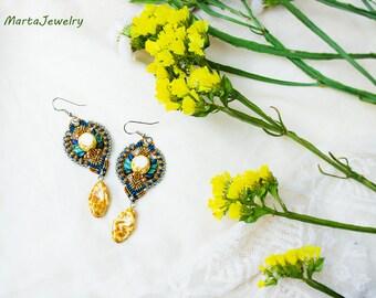 Picasso beads, beaded dangle earrings, bohemian, boho chic, tribal, rustic, brown turquoise blue, macrame earrings, micro-macrame jewelry