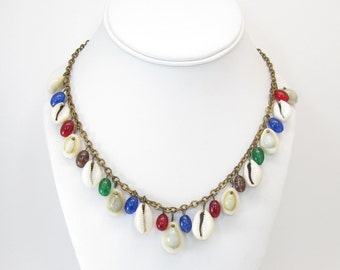 Vintage Shell Necklace, Glass Drops, Multi Colored, Detailed Chain, Brass Tone