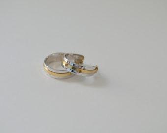 Vintage 70s Avon Sleekline Hoop earrings gold silver two tone mixed metal studs 1978