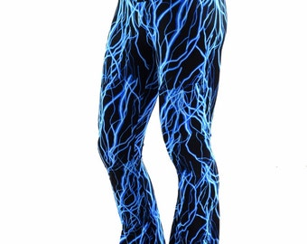 Mens Neon UV Glow Blue Lightning Bootcut Spandex Pants Rockstar Rave Festival Yoga Leggings -152366