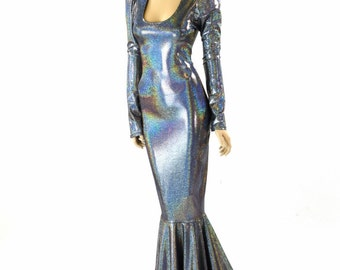 Glamorous, Bombshell Silver Holographic Sharp Shoulder Gown  with Scoop Neckline, Long Sleeves and Puddle Train   151744
