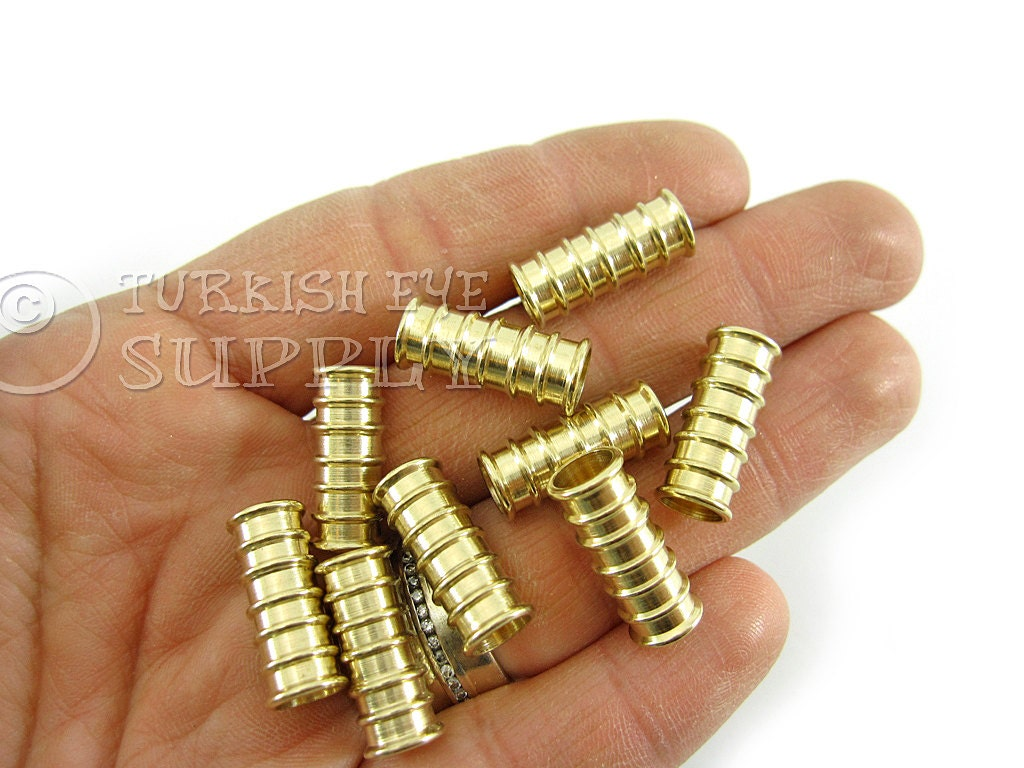 Raw brass tube spacer mm beads industrial jewelry