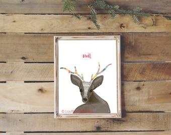 Christmas Whimsical Woodland Indie Art Deer Illustration, Instant Download,Colorful, Hipster Art, Hand painted Illustration, Noel, Holidays