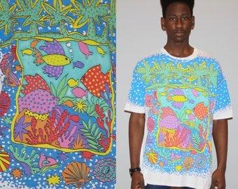 1990 Vintage Neon Graphic Under The Sea Fish 90 Surf T Shirt - 90s  Vintage Tee - MZ0429