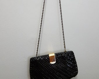 Vintage Black Lacquered Woven Rattan Bag (shoulder or clutch bag)
