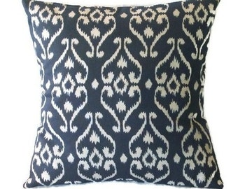 Indigo Blue and White Pillow Cover In An Ikat Design, 18 x 18 Inches