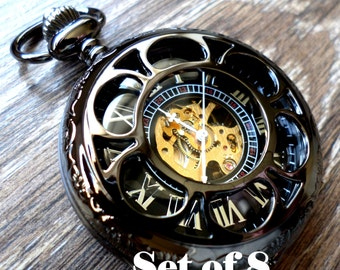 Wedding Pocket Watch Set of 8 Personalized Black Pocket Watches and Chains Clearance Groomsmen Groom Best Man Wedding Ships to USA/Canada
