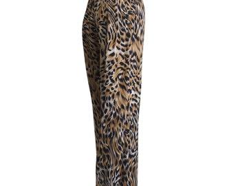 High Waist Tiger Pattern 1980s Vintage Summer Carrot Pants Size S M A L L  - M E D I U M