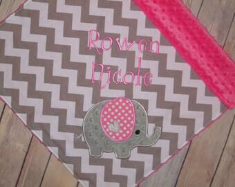 Elephant- Personalized Minky Baby Blanket - Grey Chevron with Hot Pink Minky