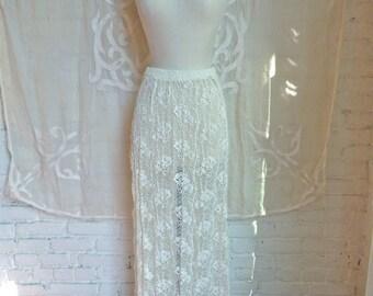 Ivory Lace Maxi Skirt